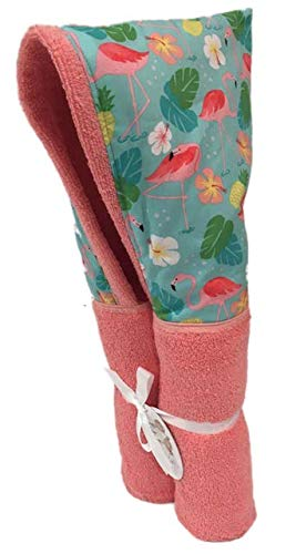 Flamingo Paradise Coral Hooded Towel ✱ Age 0-10 Years ✱ Infant, Toddler, and Big Kids ✱ Bath, Pool, Beach Towel ✱ Extra Large Size 30x54 ✱ Soft Plush Absorbent ✱ Handmade in USA (Coral Flamingo)