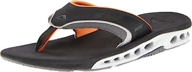 Reef Men's Vision Sandal, Black/Orange, 10 M US