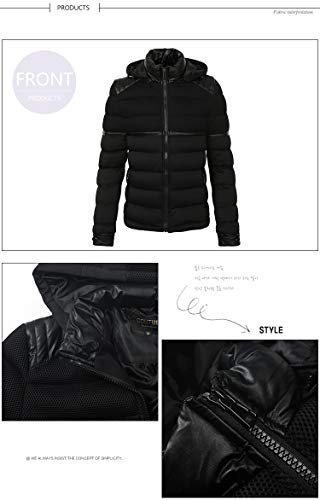 Windbreaker Jacket Sport Padded Men's Warm Windproof Padded Black Hooded Coat Strett Parka Brinny Outerwear X7qUA