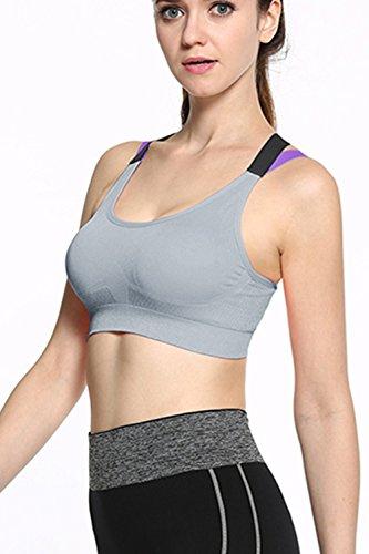Sujetador de elástico trasero inalámbrico deporte Cruz de mujeres Grey