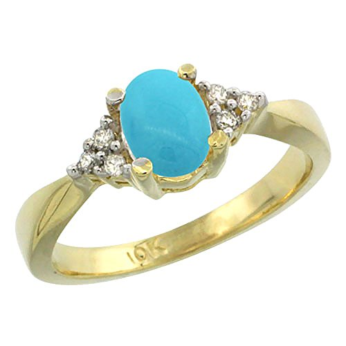 14K Yellow Gold Natural Turquoise Ring Oval 7x5mm Diamond Accent, size 6.5 14k Yellow Gold Turquoise Ring