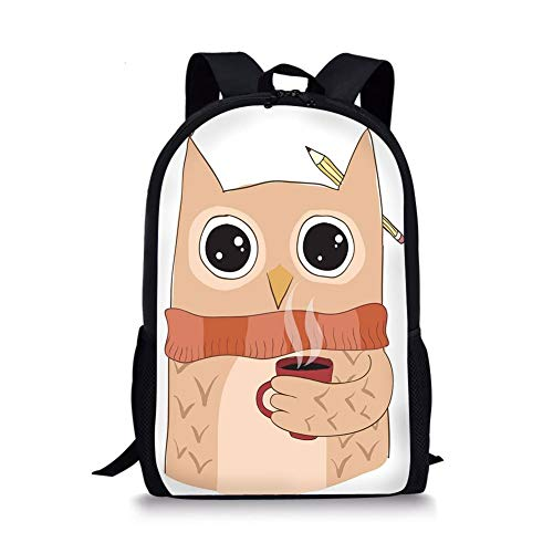 School Bags Modern,Cute Owl with A Cup of Coffee and Scarf Student Midterms Humor Illustration,Cinnamon Sand Brown for Boys&Girls Mens Sport Daypack -