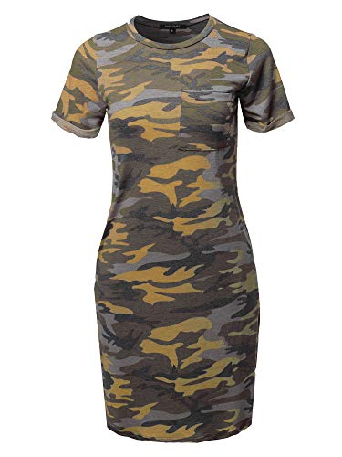Awesome21 Causal Short Sleeve Round Neck Loose fit Mini Dress Yellow Camo M