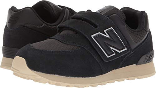 New Balance Boys' 574v1 Hook and Loop Sneaker, Black/Tan, 7 W US Toddler (New Shoes For Boys)