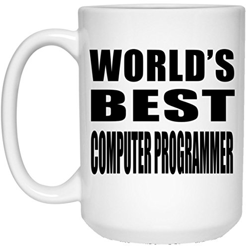 (Designsify World's Best Computer Programmer - 15 Oz Coffee Mug, Ceramic Cup, Best Gift for Birthday, Wedding Anniversary, New Year, Valentine's Day, Easter, Mother's/Father's Day)