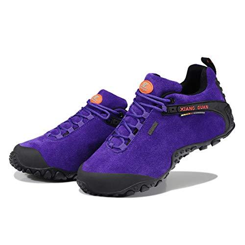 Ladies Walking Suede Low up GUAN Purple Breathable top Outdoor Shoes Trekking Footwear Lace Travelling Women's Sneaker Waterproof XIANG Hiking WpPfwFp