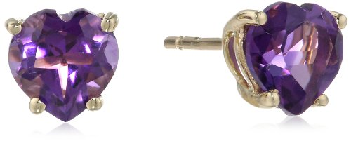 14k Yellow Gold Amethyst Heart Stud ()