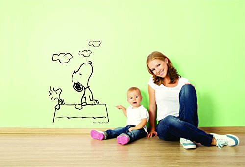 Charlie Brown and Snoopy Wall Vinyl Art Decal/Peanuts Cartoon Kids Bedroom Stickers Decals/Childs TV Characters/Patty Shermy Snoopy Violet Gray Linus Van Pelt/Size Clouds 15X20inch