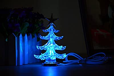 "USB Christmas Tree, Casety USB Powered Mini Multicolor LED Christmas Tree for Desk Lamp Decoration ,7 kinds of colors (4.5""H)"