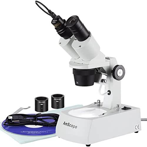 AmScope SE306R-A-E Digital Forward-Mounted Binocular Stereo Microscope, WF10x Eyepieces, 20X and 40X Magnification, 2X and 4X Objectives, Upper and Lower Halogen Lighting, Reversible Black/White Stage Plate, Arm Stand, 120V, Includes 0.3MP Camera and Software