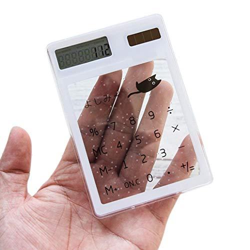 Calculadora de mano transparente con un bonito contador de bolsillo solar para la escuela, el hogar, la oficina, color al...
