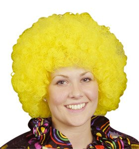 Big Yellow Afro Wig Curly Hair Clown Circus