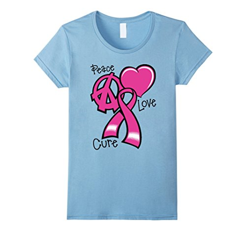 Womens Breast Cancer Awareness Tshirt Survivor Peace Love Cure XL Baby Blue