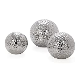 Torre & Tagus 900498 Hammered Ceramic Decor Balls, Chrome, Set of 3