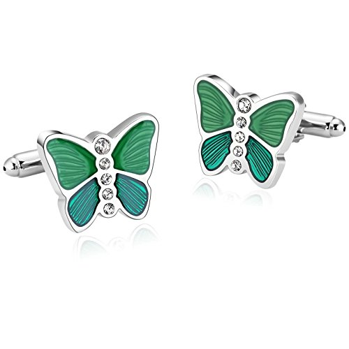 Gnzoe Men Stainless Steel Silver Green Butterfly Zirconia Shirt Cufflinks with Gift - Tiffany Sale Friday Black