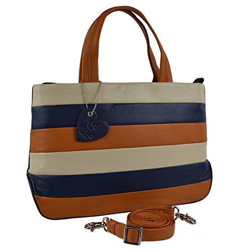 Mala Leather, Borsa a mano donna Rosso Multi nero medium Navy Multi