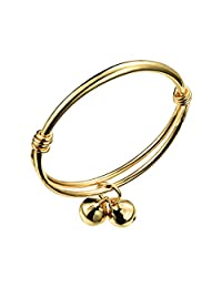 COCO Park Healthy Children Jewelry 18K Gold Plated Polish Cuff Bangle Adjustable Bracelet Anklet