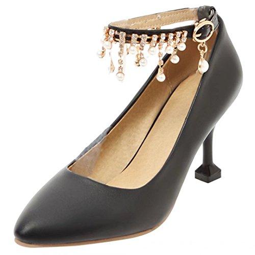 AIYOUMEI Damen Knöchelriemchen Pumps mit Schleife Stiletto High Heels Schuhe mit Schnalle schwarz+Strass