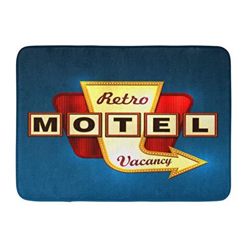(Emvency Doormats Bath Rugs Outdoor/Indoor Door Mat Orange Neon Retro Motel Road Sign Arrow Red Hotel Signage 50S Marquee Bathroom Decor Rug Bath Mat 16