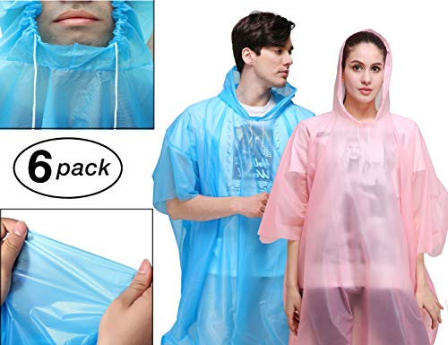 Rain Poncho for Adults - 6 Pack of PEVA Tear Resistant Thick Ponchos for Men or Women with Drawstring on Hood by Viper Gear - Disposable or Reusable Emergency Rain Gear