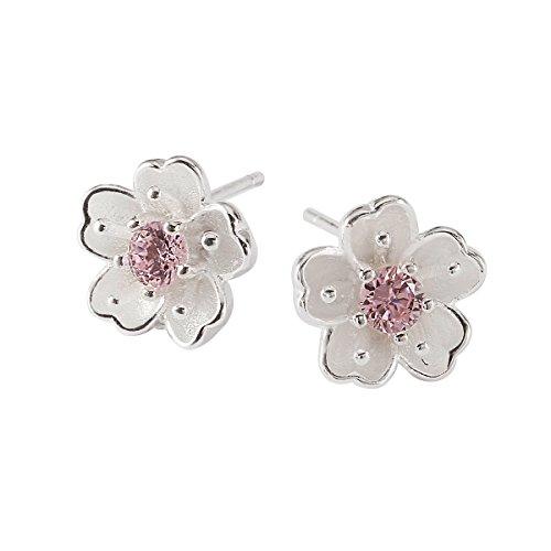 JEWME 925 Sterling Silver Women Girl Peach Blossom Earrings Flower Pierced Earrings Polished by JEWME