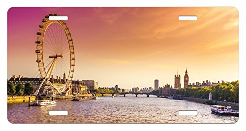Lunarable London License Plate, Sunset View Bridge on Thames River Ferris Wheel London Eye Big Ben Westminster, High Gloss Aluminum Novelty Plate, 5.88 L X 11.88 W Inches, Peach and Pink