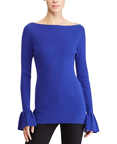 (LAUREN RALPH LAUREN Womens Zakaria Bell Sleeves Boatneck Pullover Sweater Blue S)