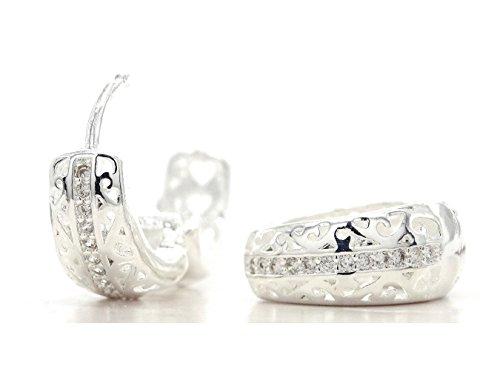 Argent sterling 925authentique épais Motif boucles d'oreilles créoles classique faite à la main avec de petits blancs transparents avec boîte à bijoux Noir