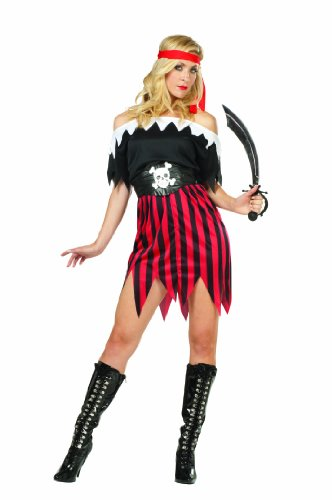 RG Costumes Lady Buccaneer, Black/White/Red, One