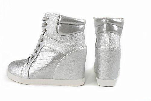 Los Zapatos de Mujer Blancos Casuales Encienden Alto Alto Cuello para Ayudar a Aumentar Los Zapatos de Las Mujeres , plata , EUR35