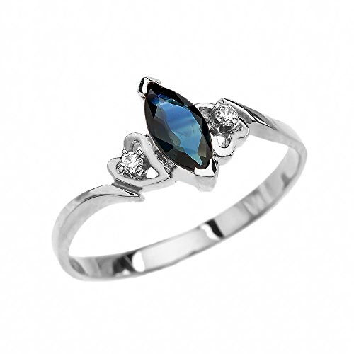 10k White Gold Diamonds And Solitaire Marquise Sapphire Engagement Proposal Ring(Size 7.5) ()