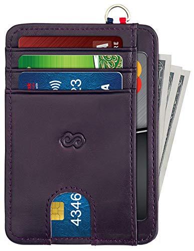 Slim Minimalist Wallet for Men  Women Leather Front Pocket Wallet RFID Blocking Card Holder with Zipper Coin Pocket  D Shackle Dark Purple best to buy