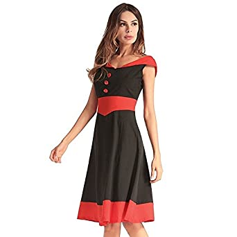 MXNET Vestidos de fiesta, remiendo atractivo del vestido del Midi ocasional Backless V cuello de los vestidos de fiesta de vacaciones de verano para las ...