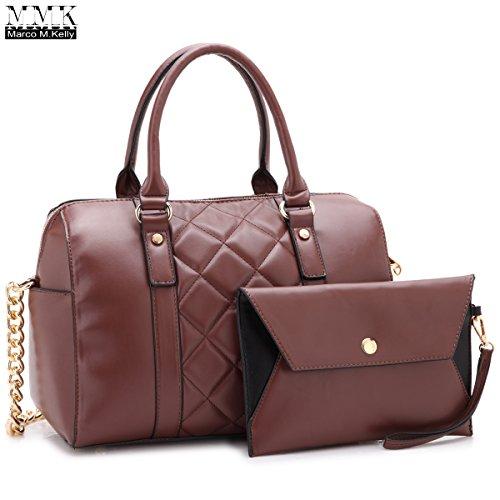 MMK Collection Fashion Satchel handbag~(7566/7370) Soft/Patent Vegan Leather~Beautiful Designer Purse~Perfect Shoulder Bag~Fashion handbag Set for Women(Matching Wallet Set 7566 - All Brand Names The