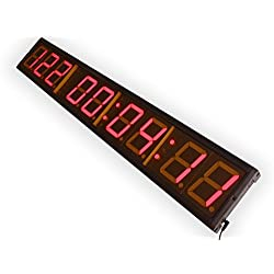 EU 4 9Digits LED Days Countdown CountUP and Clock Red Color 999 Days with Hours Minutes Seconds IR Remote Control Aluminum Casese