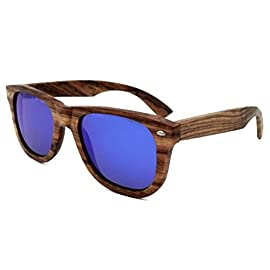 """FENGJI Unisex Wooden Sunglasses with Polarized Lens-Striped Zebra Wood Frame (Brown) 4 POLARIZED LENSES - Provide crystal clear vision and anti-glare effect with UV400 protection. 53mm x 37mm lens. HANDMADE WOOD SUNGLASSES - Since they are made with 100% natural Ebony wood, every pair is different and EVERY pair is sure to start a conversation! CLASSIC NATURAL STYLE - Classic wayfarer style looks good on everyone. Frame size:148mm front width x 145mm length x 43mm height (5.8"""" x 5.7"""" x 1.7""""). Nose Bridge Height 19mm"""
