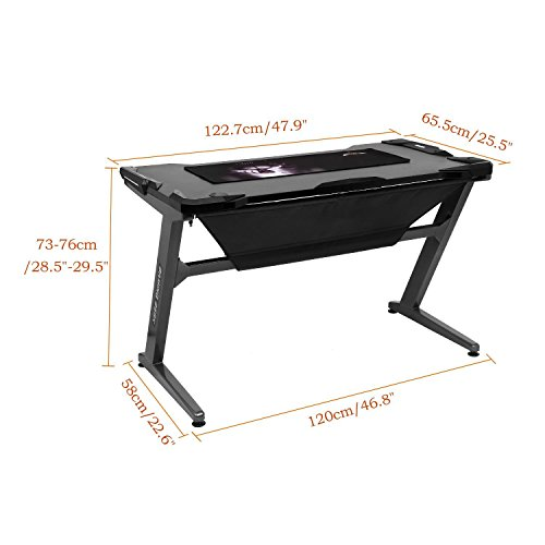 Leoneva Racing Table E-sports Gaming Desk Ergonomic Comfortable Z-Shaped Computer Desk Table With LED Ambience Lighting, 48.3 x 25.8 x 29.9inch (US Stock, Black) by Leoneva (Image #5)