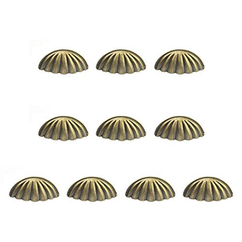 JWI Oil-Rubbed Shell-Shap Half Moon Cup Pulls Antique Bronze Iron Vintage Closet Cabinet Drawer Countryside Farmhouse Cabin Attic Handles Set 10Pcs for Kitchen Cupboard Door Closet Drawer