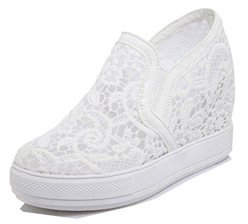 Dentelle Aisun Femme Talon Blanc Confortable Sneakers Compensé ON8nw0mv