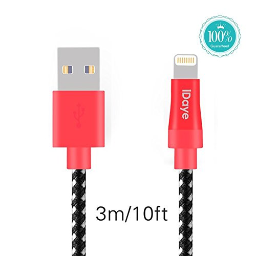 iDaye,[apple cable MFI Certified ] 3M/10ft Lightning 8pin to USB Sync Cable Apple Charging Cord for iPhone 6s Plus/6s/6/6 plus/5/5s ,iPad Air and Mini ,iPod (black)