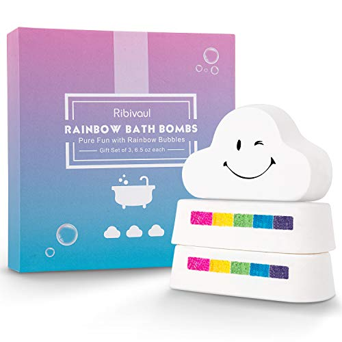 Rainbow Bath Bombs Gift Set, Ribivaul 3 Extra-Large 6.5oz Handmade Bath Bombs with Natural Ingredients, Cloud Bath Bomb with Rich Bubbles for Kids/Women, Great Gift Idea for Valentine's Day, Birthday