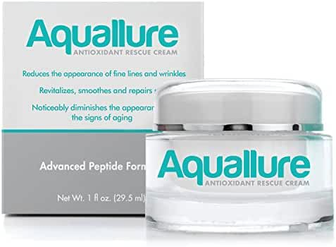 Aquallure Antioxidant Facial Moisturizer Cream - with Hyaluronic Acid and Peptides | A Powerful Anti Aging & Anti Wrinkle Formula for Deep Hydration | To Reduce Wrinkles - Smooth Fine Lines - Tighten Skin | Gluten Free & Dermatologist Tested (1 oz)
