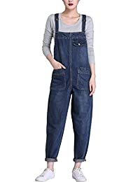 QINGFANG Women's Casual Denim Jumpsuit Romper Dungarees with Pockets