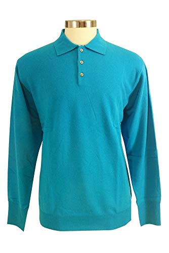 Shephe Men's Polo Cashmere Sweater with 3-Button Blue Green Small