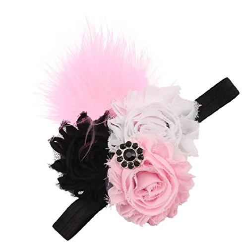 DZT1968(TM)Baby Girl Narrow Turban Headband Head Wrap Hair Band With Rhinestone Flower Feather (Black)