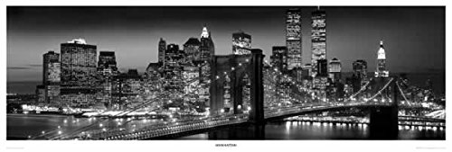 Manhattan Skyline - Door Poster / Print (New York City By Night) (Size: 62
