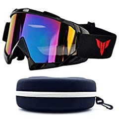 CPS Men & Women Unisex Black Frame Mirror Lenses Ski Snowboarding Off road Outdoor Goggles with Maximum UV Protection and cool new style that fit any condition - COMES with FREE Hard Storage Case