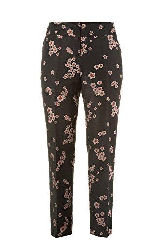 Ulla Grandes Jacquard Popken Motif Fleurs Noir Tailles Femme 712006 Pantalon Tissés gHwgrqxRF