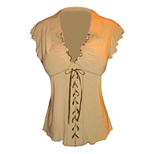 Tops T Tops 5XL Plus Hibote Chemises Sans Empire manches shirt Tops Tunique Cou Lacer Dames Blouses V S t Taille Taille Kaki vous Arrtez gothique Mode B6BwHS