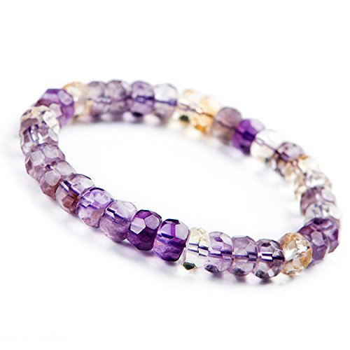 (LiZiFang 9mm Genuine Natural Ametrine Quartz Crystal Faceted Beads Stretch Bracelet)